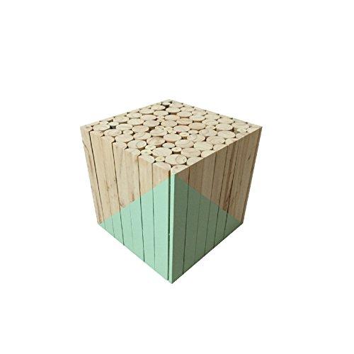THE HOME DECO FACTORY - HD3718 - Tabouret Carré, Bois, Vert D'eau, 30 x 30 x 30 cm