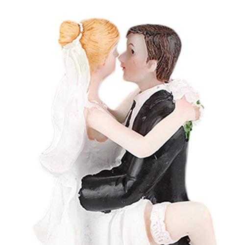 Jinzuke Süße Wedding Collectibles Lustiger Kuchen-Deckel-Braut-Bräutigam Kissing Verlobungs-Party-Figurine (Harz Braut Und Bräutigam-kuchen-deckel)