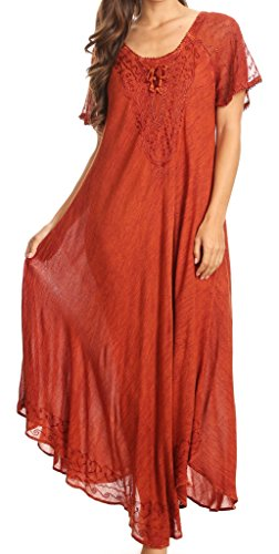 Sakkas 16603 - Egan Long Embroidered Caftan Dress / Cover Up With Embroidered Cap Sleeves- Rot-OS