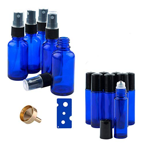 QILICZ Ätherisches Öl Flaschen - 4 x 30ml Sprühflasche mit Zerstäuber und 8 x 10ml Rollenkugel Glasflaschen für Parfüm Aromatherapie Mischungen Blumenwasser mit Pipetten,Trichter -