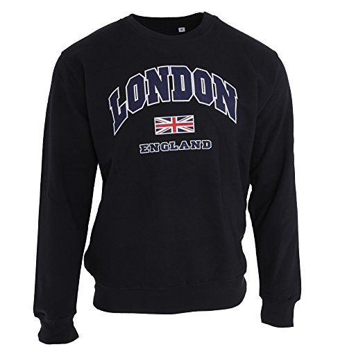 Unisex Sweatshirt mit Aufschrift London England und Union-Jack-Design (S) (Marineblau) - England London
