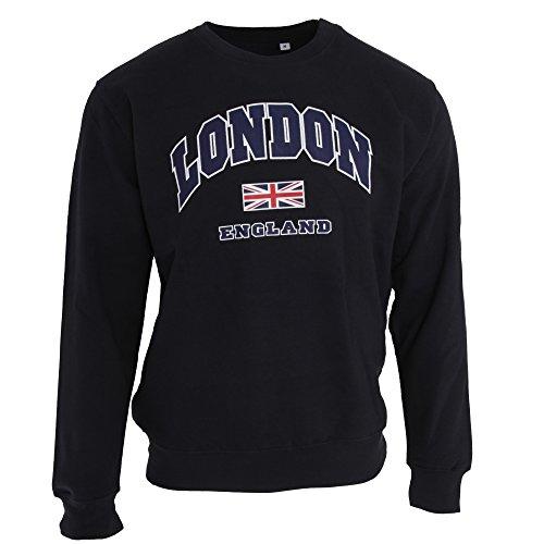 Unisex Sweatshirt mit Aufschrift London England und Union-Jack-Design (S) (Marineblau) - London England