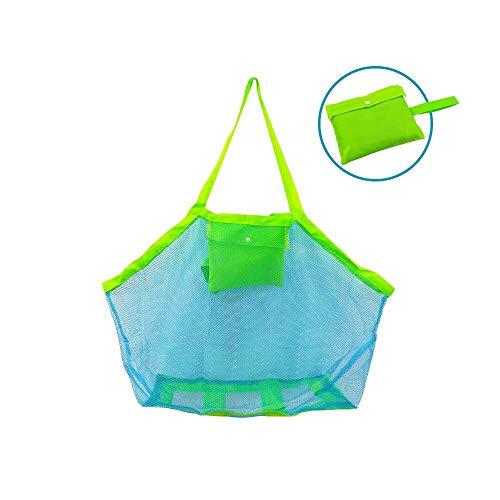 Bornfeel borsa da spiaggia giochi borsa a rete anti-sabbia per mare piscina barca per riporvi giocattoli da bambino palline conchiglie o altri articoli da spiaggia verde 45 x 30 x 45cm