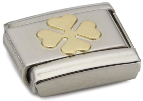 Nomination Composable Classic Good Luck Clover Stainless Steel and 18K Gold