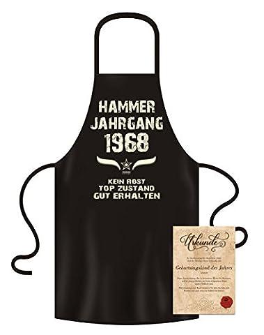 Geschenk zum 49. Geburtstag :-: Hammer Jahrgang 1968 :-: Schürze Kochschürze Grillschürze mit Jahreszahl Jahrgang Aufdruck :-: Farbe: schwarz :-: Geschenkidee für Sie & Ihn Mama Papa Oma Opa