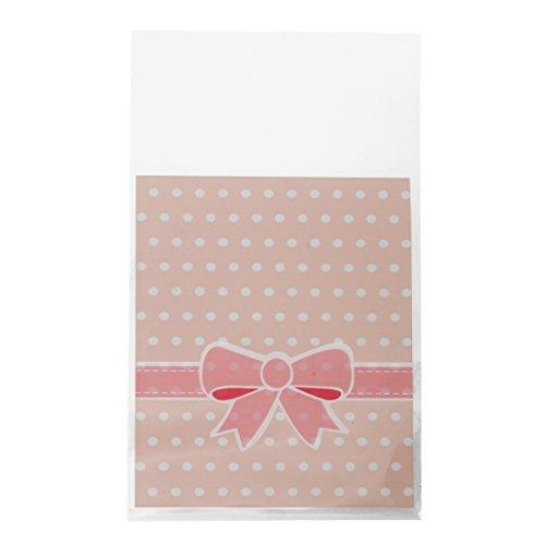 SODIAL(R) 50 x Bolsa Puntos Lazo Plastico 12.5x8cm Rosa para Regalo Ca