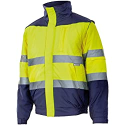 Velilla 161 - Cazadora de alta visibilidad (talla M) color azul marino y amarillo fluorescente