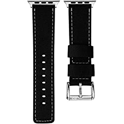 ZULUDIVER Waterproof Diver's Watch Strap Black / Grey for Apple Watch 42mm