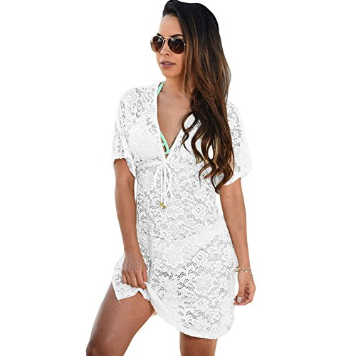 meinice trasparente Lace Cover Up Dress White