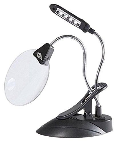 Wedo 27175201 Tischlupe mit LED Lampe, Kunststoff Linse Ø 10,2 cm, 2 fach/4 fach Vergrößerung, 4x Licht, flexibler Hals, Klemme, schwarz (Lampe Lupe Licht)