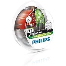 Philips 12258LLECOS2 LongLife EcoVision - Bombillas para faros delanteros (H1, 2 unidades)