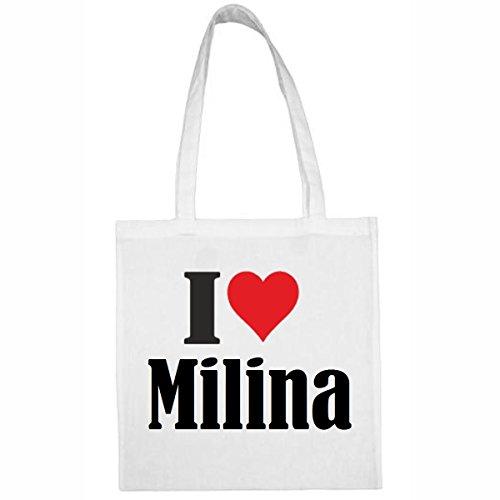 """Tasche""""I Love Milina""""Größe""""38x42""""Farbe""""Weiss""""Druck""""Schwarz"""