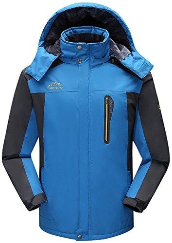 Sawadikaa Herren Winter Outdoorjacke wasserdicht Wandern Fleece Übergröße Skijacke Regenjacke Windbreaker Blau