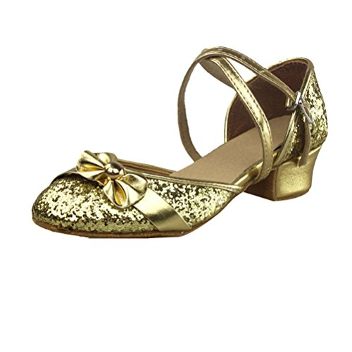 Zhhlinyuan Adult Children Latin Sequins Closed Toe Dance Shoes Mid Heel Shoes Gold