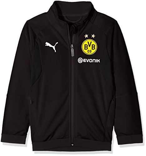 PUMA Kinder BVB Poly Jacket Jr Sponsor Logo with 2 Side Pockets wit Jacke, Black, 140