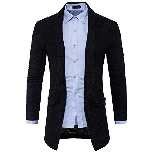 Ode_joy uomo slim fit giacca con cappuccio in maglia cardigan basic bottoni cappotto maglione scollo a v da maglia fashion lunga, primavera maglieria manica lunga con scialle(nero,xl)