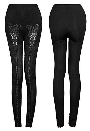 Leggings nero con fiori e pizzo, ricamo, motivo gotico, Punk Rave nero 2XL