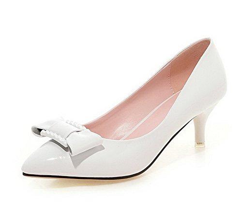 VogueZone009 Femme Tire à Talon Correct Pu Cuir Couleur Unie Pointu Chaussures Légeres Blanc