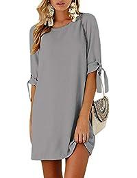 Yoins - Vestido de mujer para invierno, cuello redondo, vestido de novia, manga larga, minivestido, camiseta larga, túnica suelta con lazo en las mangas Color gris. XXL