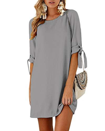 YOINS Sommerkleid Damen Tshirt Kleid Rundhals Kurzarm Minikleid Kleider Langes Shirt Lose Tunika mit Bowknot Ärmeln Aktualisierung-Grau EU40-42