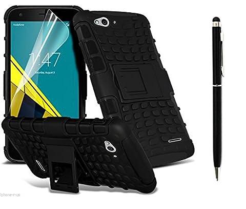 Deet® Black Vodafone Smart Ultra 6 Heavy Duty Case Cover with Black Stylus Pen