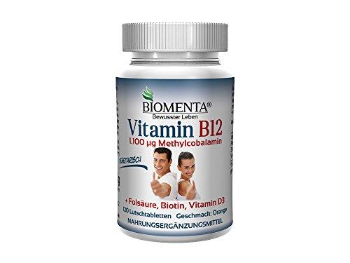 BIOMENTA VITAMIN B12 HOCHDOSIERT | 1.100 µg Methylcobalamin + Vitamin D3 + Biotin + Folsäure | 4 MONATSKUR | 120 vegetarische Vitamin-B12-Tabletten