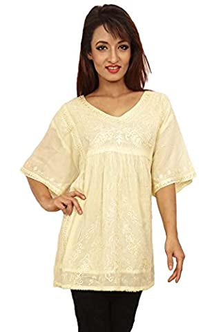 Women Top Indian Tunic Kurta Embroidered Button Down Summer Wear Clothing