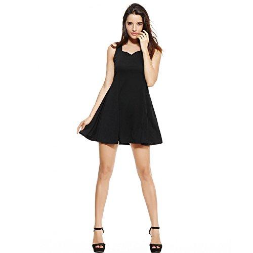 Vintage-Schatz-Ansatz-dünne Skater Little Black Dress für Frauen Schwarz