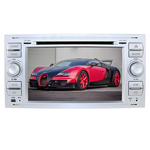 Autoradio Hizpo Android 9.0 7 Pouces 2 Din Moniceiver DVD GPS Navigation Bluetooth pour Ford C-Max/Connecter/Fiesta/Focus/Fusion/Galaxy/Kuga S-Max/Transit/Mondeo (Argent)