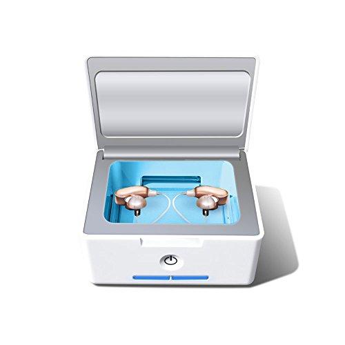 IRIVER BLANK Automatischer Hörgerätetrockner und elektronischer Cochlear-Trockner UV-C-Desinfektions-Sanitizer und Reinigungsfall-Halter und Trockenbox -
