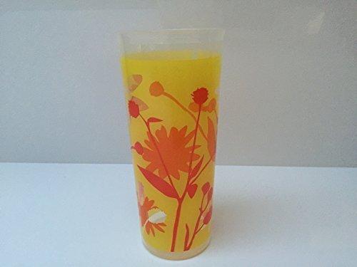 TUPPERWARE bicchiere tazza 470 ml arancione rosso giallo trasparente estate fiori uccelli Chen ragazza ideale per Smoothie