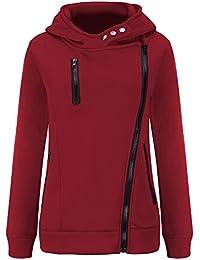 VJGOAL Mujer otoño e Invierno Moda Casual Color sólido Manga Larga más Terciopelo Engrosado suéter con Capucha Chaqueta de la Cremallera
