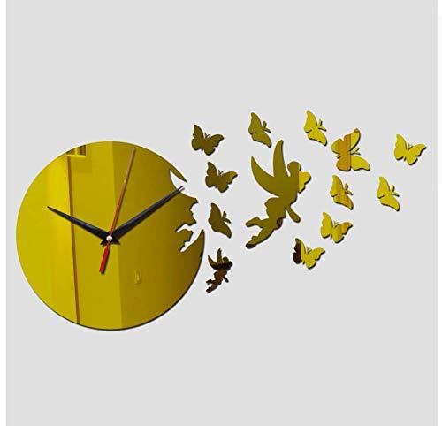 Menddy Neue DIY Wandaufkleber Uhr Moderne Möbel Uhren Acryl Spiegel Schmetterling Aufkleber Wohnkultur Wohnzimmer Gold 20x35cm - Möbel Uhr