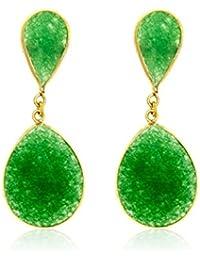 Córdoba Jewels | Pendientes en plata de Ley 925. Diseño Essencia Esmeralda Oro