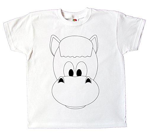 Kinder T-Shirt Pferd lustig zum bemalen und ausmalen mit Vordruck Spiel zum Kindergeburtstag Kindergarten für Jungen und Mädchen (128) (T-shirt-druckfarbe)