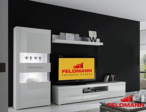 Wohnwand Anbauwand 440905 weiß / weiß Hochglanz 3-teilig