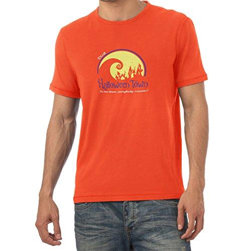 NERDO - Visit Halloween Town - Herren T-Shirt, Größe XXL, orange
