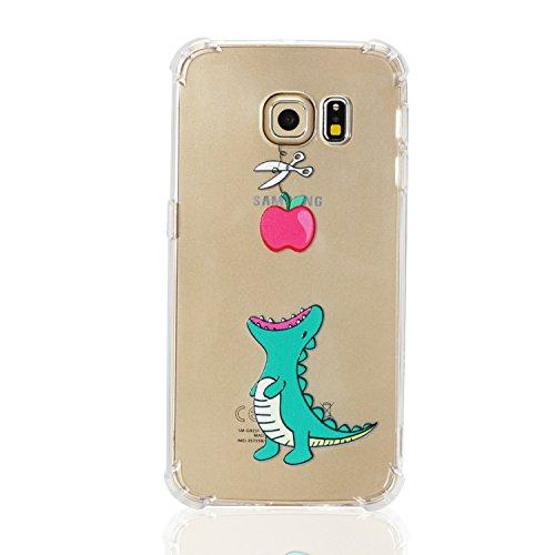 Hülle für Galaxy S6 Edge, KANTAS Weich Transparent Silikon TPU Schutzhülle Handyhülle Schlank Klar Rückseite TPU Ultra Dünn Bumper Back Cover für Samsung Galaxy S6 Edge, Dinosaurier Apfel