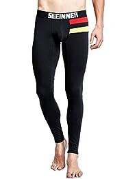QinMM Longue Pantalons Thermique Deux Lignes Horizontales Patchwork Faible  Hommes 551b3702800