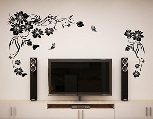 Decals Design 'Beautiful Black Flowers Vine with Butterfly' Wall Sticker (PVC Vinyl, 50 cm x 70 cm x 1 cm, Black)