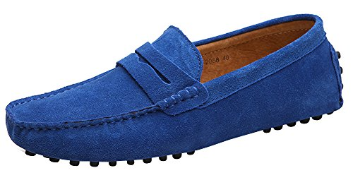 Yaer Mocassins Cuir Suedé Classic Homme Chaussure Bleu