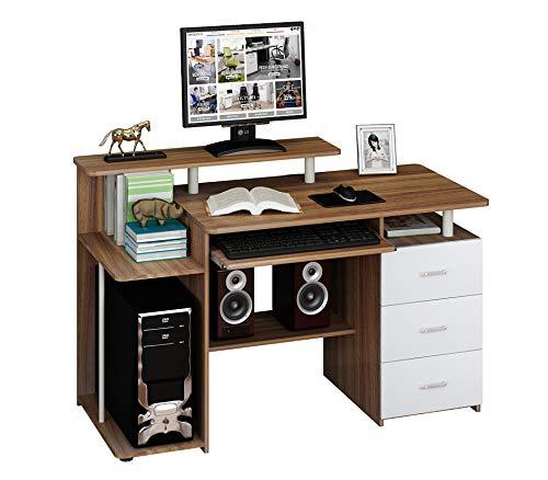 hjh OFFICE Computertisch Büro-Schreibtisch Stella mit Standcontainer, Tastaturauszug, Monitorpodest, viele Ablagefächer, robust gefertigt, einfacher Aufbau, PC-Workstation (nussbaum/weiß) -