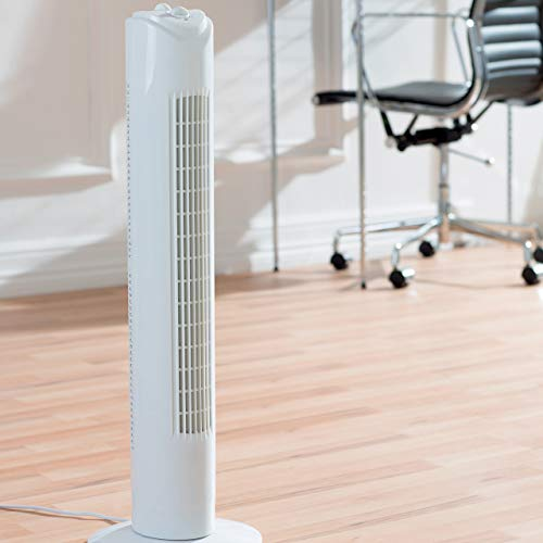 41vt2aKcWUL. SS500  - Fine Elements COL1258 32-Inch Tower Slim, 3 Speed Settings, 2 Hour Timer, Portable Floor Fan, Wind Rotor-White, One Size