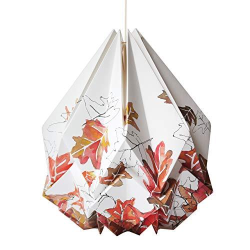 Origami Lampenschirm handgemacht in Papier - Herbst Aquarell - Zeitgenössische Aquarelle