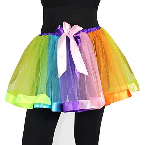 Foxxeo Deluxe Petticoat Tutu rot blau grün gelb Regenbogen Erwachsene Fasching Ballett Rock Tanz ()