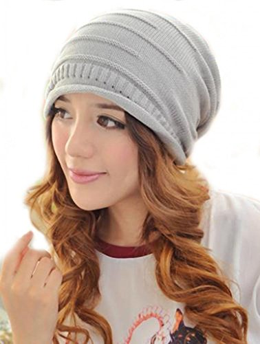 Minetom Donne Uomini Unisex Moda Cappello Invernale Cappello In Lana Ski Berretti In Maglia Colore Puro ( Grigio chiaro )