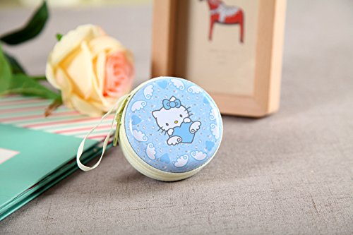 Kitty Cyan Zipper Round Headphones / Coin Purse Wallet Pouch Bag Key Holder For Birthday Gifts   Return Gifts   Utillity  available at amazon for Rs.199