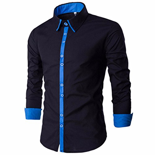 Men's Pure Simplicity Square Collar Long Sleeve Casual Shirts Black Blue