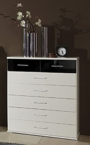Germanica BREMEN Matching Chest Of Drawers In a Choice of 3 Colours and 3 Sizes (White & Black 7 Drawer Chest)