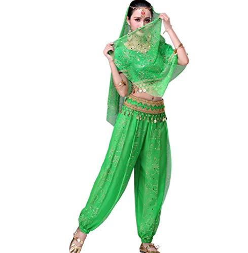 ZYLL BauchtanzkostüM FüR Erwachsene, Bollywood Dance KostüM-Sets FüR Damen Tops + Hosen + GüRtel + Schleier + Kopfbedeckungen,Green